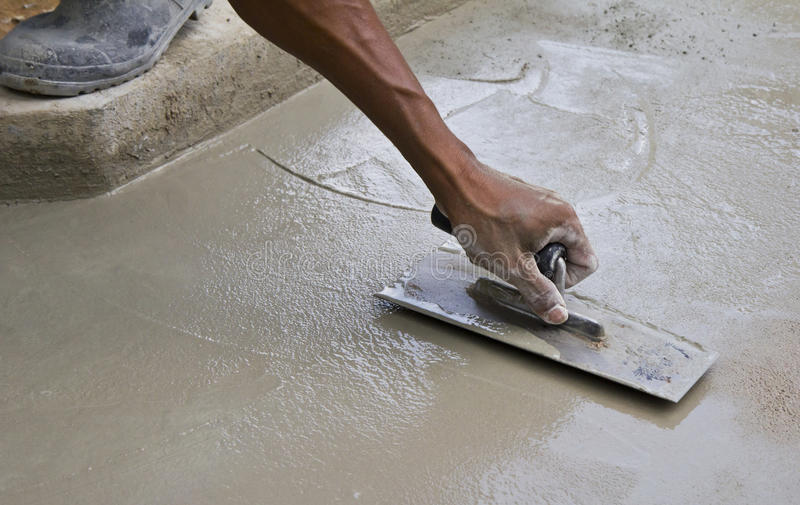 Builder are plastering. stock photo