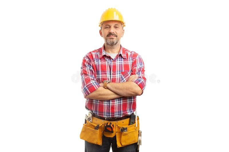 Builder portrait with proud expression royalty free stock photos
