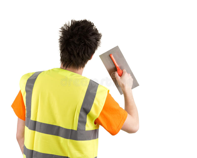 Download Builder from a rear view stock image. Image of hand, bricklayer - 25456851