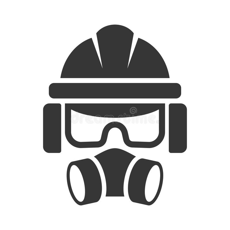 Builder Safety Helmet, Protection Glasses, Respirator and Headset Icon. Vector vector illustration