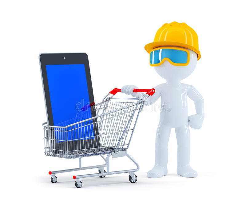 Builder with shopping cart and blank screen tablet. On white background royalty free illustration