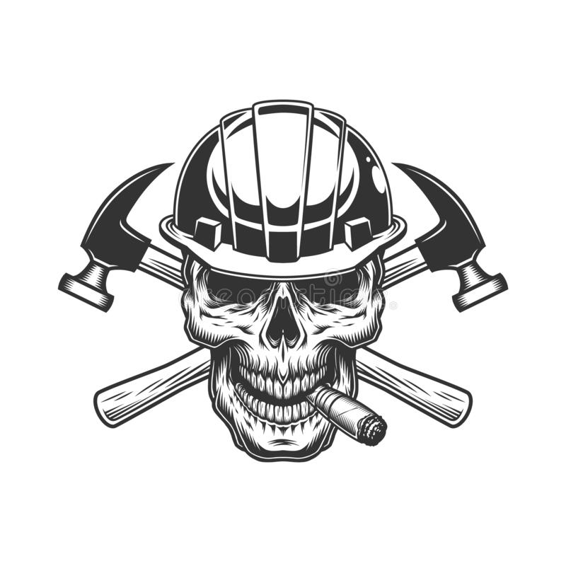 Builder skull smoking cigar. With crossed hammers in vintage monochrome style isolated vector illustration vector illustration