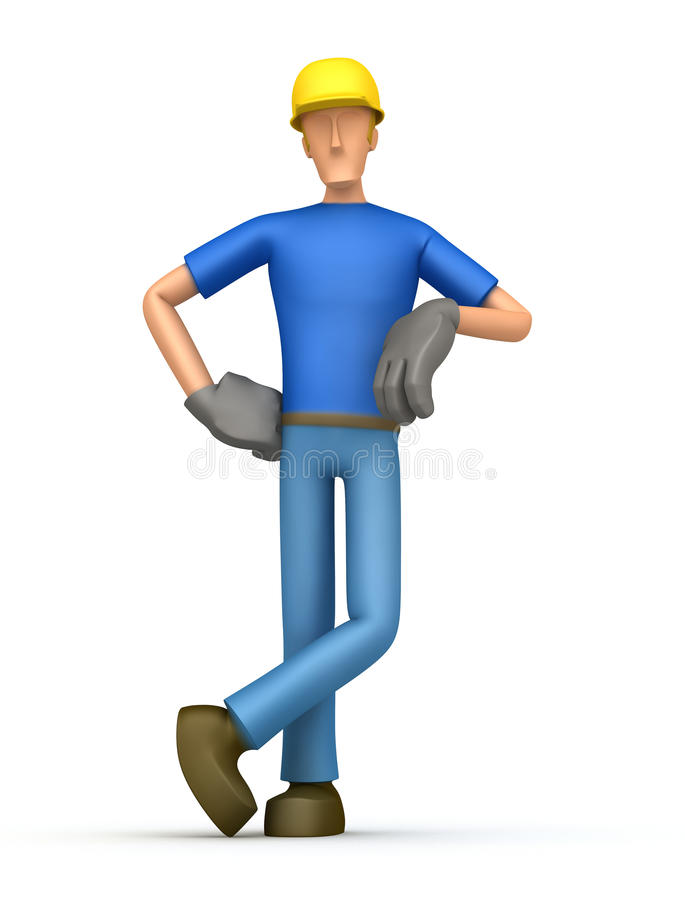 Builder stands next to a blank place vector illustration