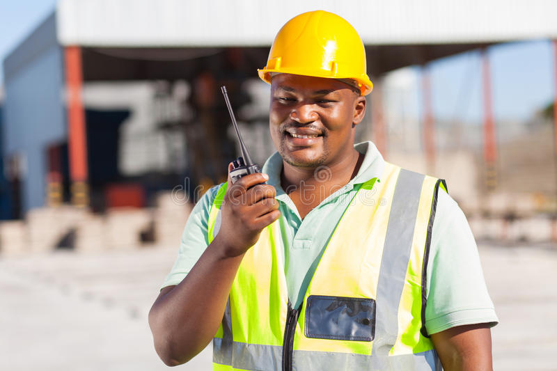 Builder talking radio royalty free stock image