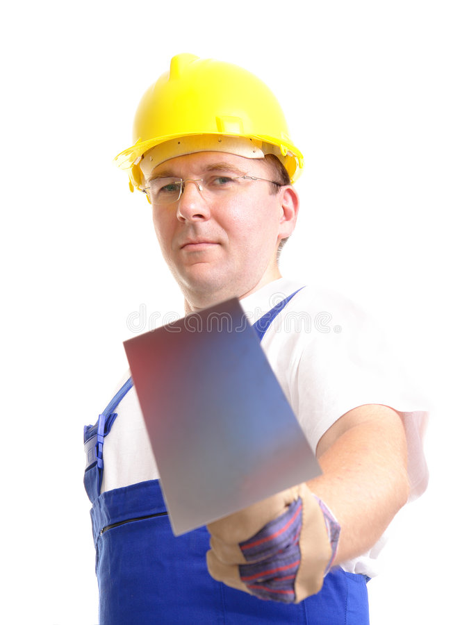 Builder with trowel stock photo