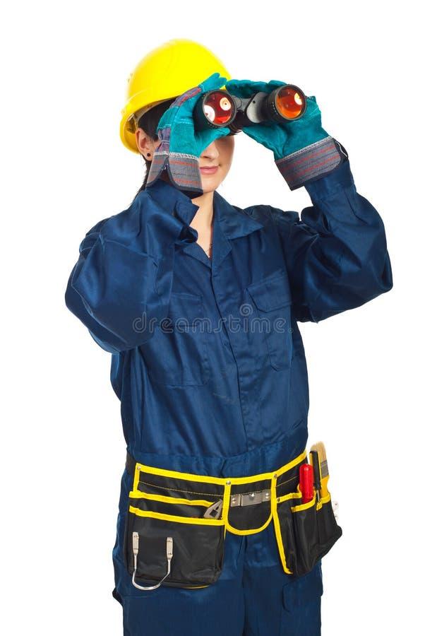 Builder Woman Looking Through Binocular Royalty Free Stock Photo