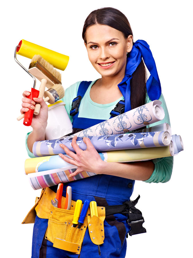 Builder woman with wallpaper. stock photo