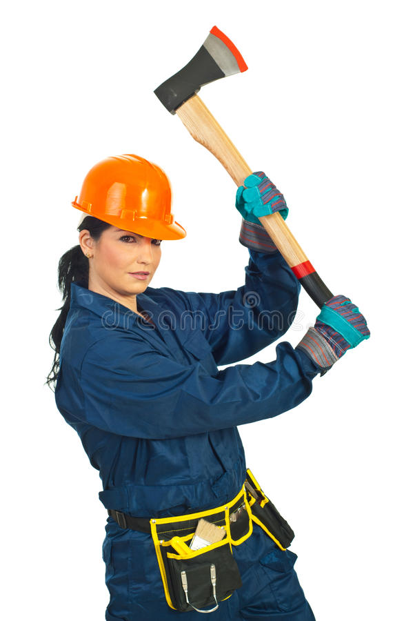 Builder woman working with ax royalty free stock photo