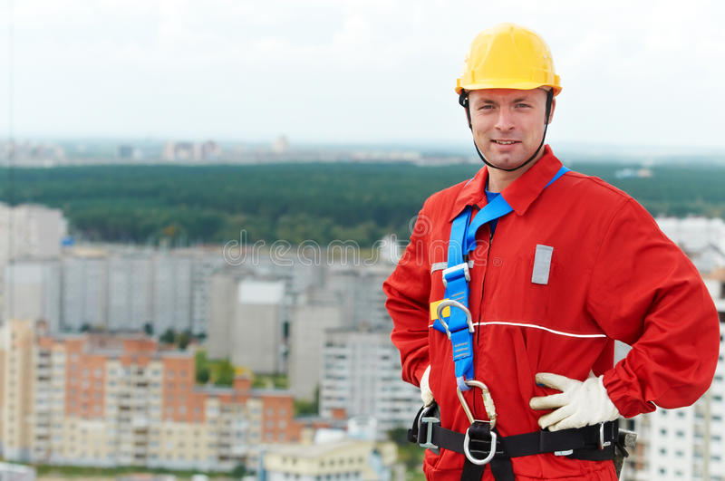 Builder worker at construction site stock photography