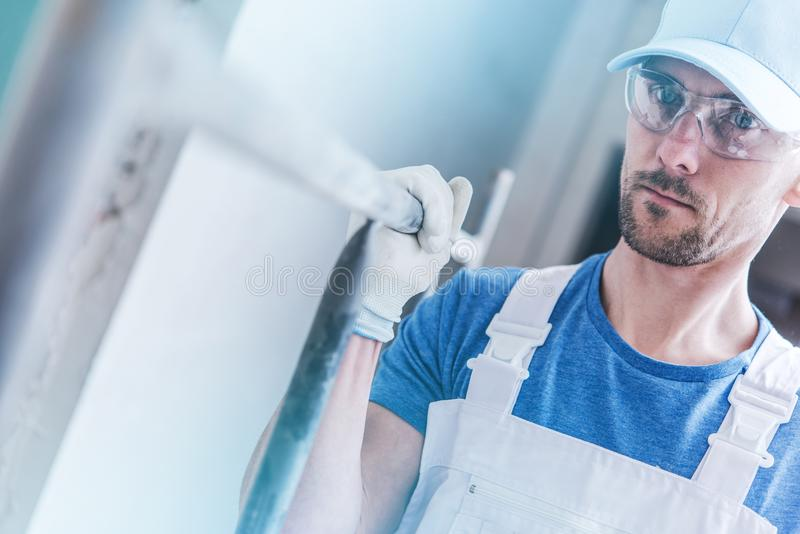 Builder Worker with Scaffolding stock photo