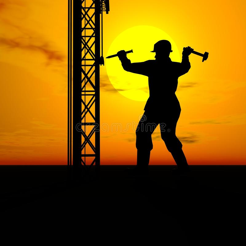 Builder worker. And sunset,man and sun stock illustration