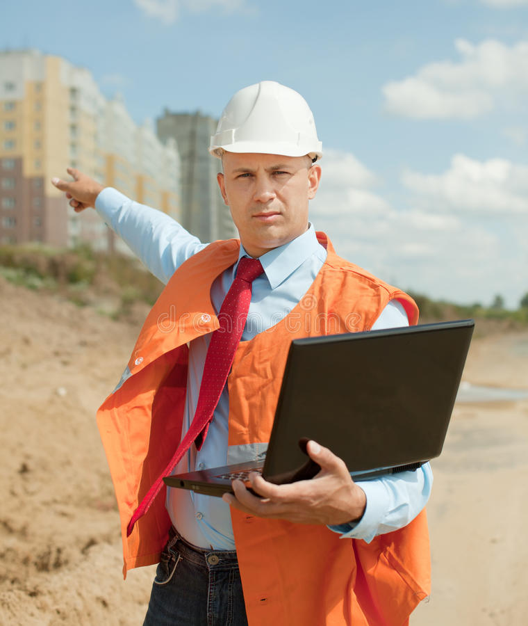 Builder works at construction site royalty free stock images