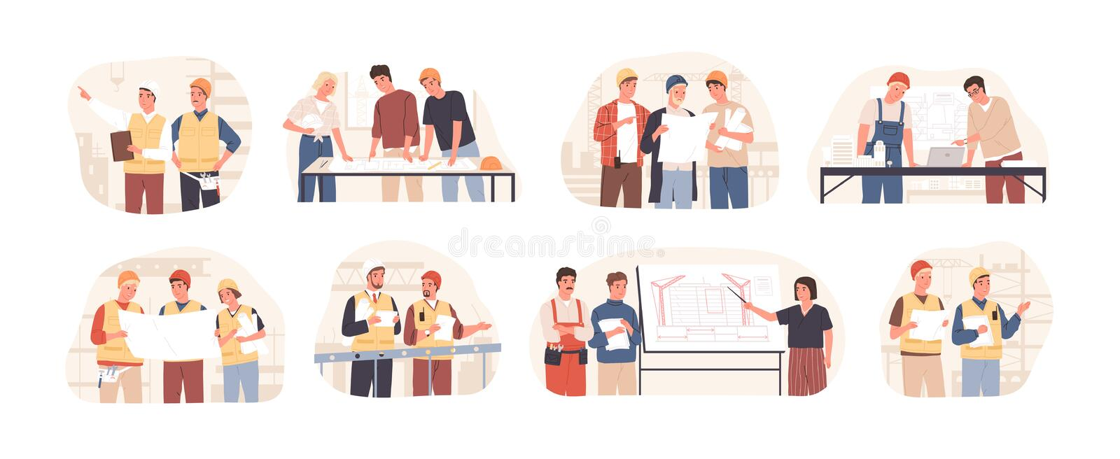 Builders and architects flat vector illustrations set. Architectural project planning, development and approval. Building industry concept. Professional stock illustration