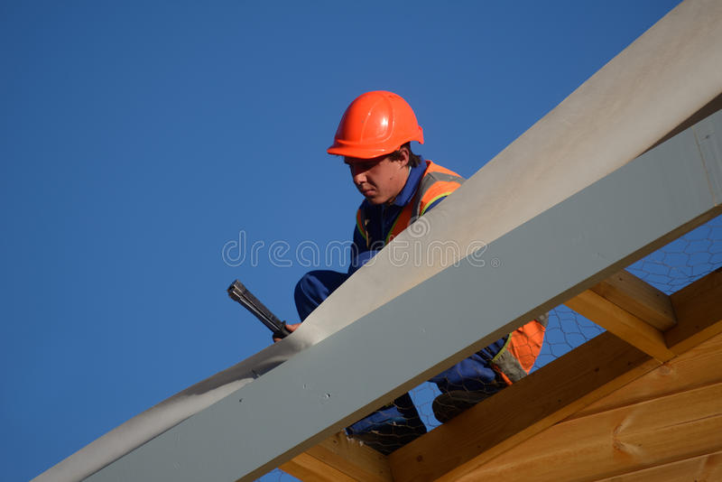 Builders bang it home stock photography