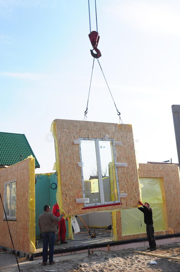 KIEV, UKRAINE - November, 24, 2017: Builders Building New Frame House. Structural Insulated Panels SIPS royalty free stock photos