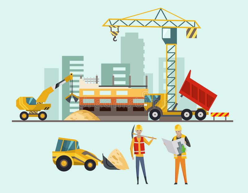 Builders on the construction site. Building work process with houses and construction machines. Vector illustration with royalty free illustration