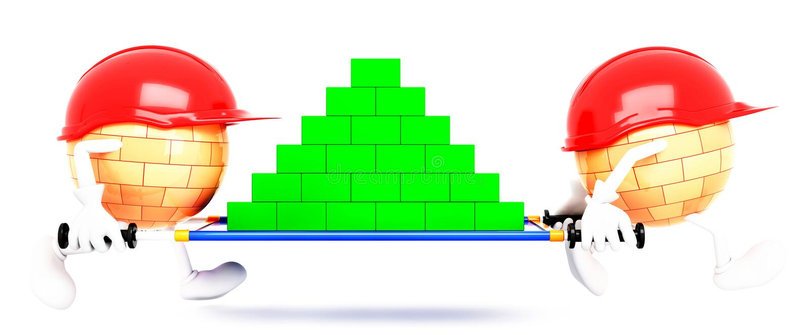 Builders 3d on a white background stock illustration