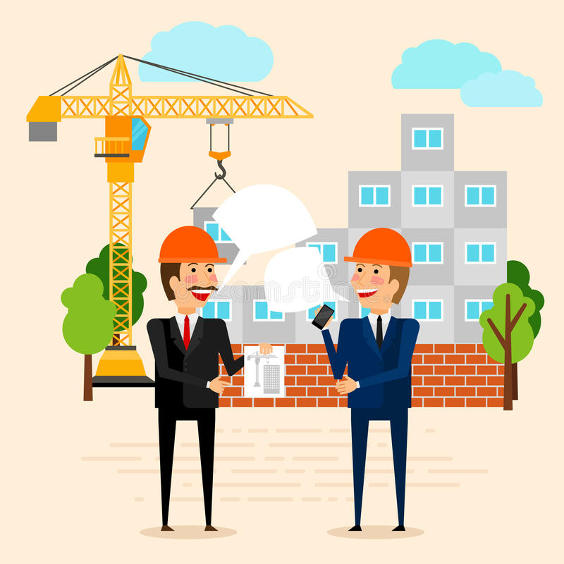 Builders discussing construction of house vector illustration