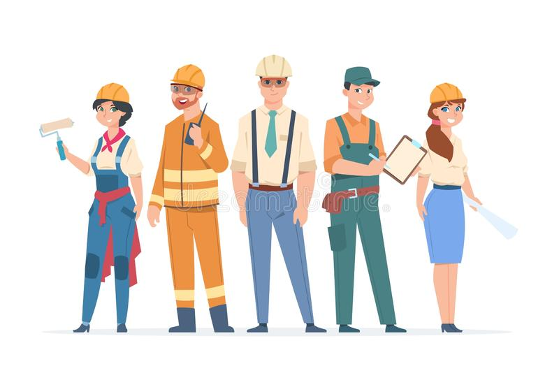 Builders and engineers characters. Construction workers and business peoples, men and women in professional costumes vector illustration