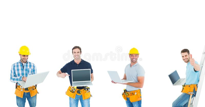 builders with laptop royalty free stock images