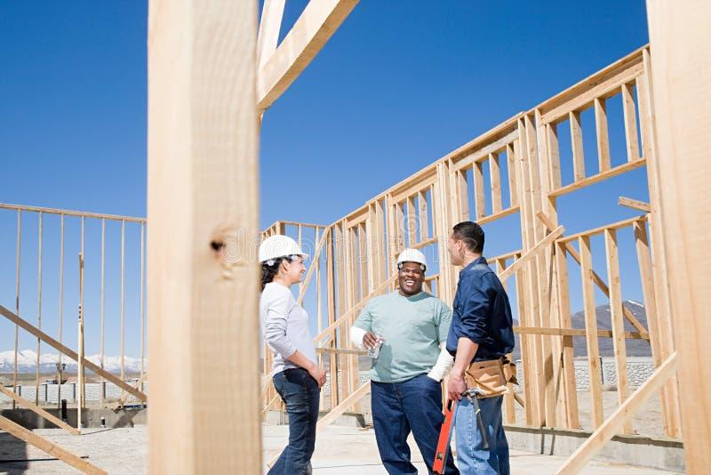 Builders taking a break royalty free stock photos