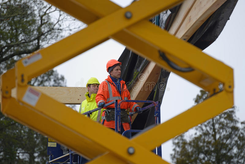 Builders on top stock image