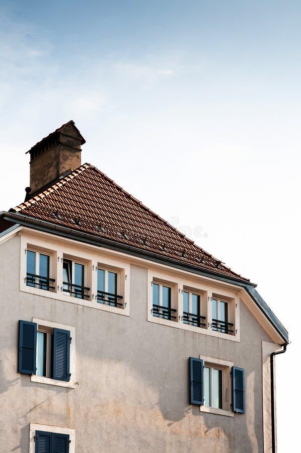 Buildiing do vintage de La Chaux de Fonds, Suíça imagens de stock