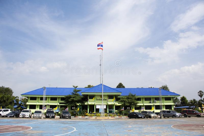 Buildind of Bangbuathong District Office Station in Nonthaburi, Thailand. Buildind of Bangbuathong District Office Station for thai and foreign people visit and royalty free stock images