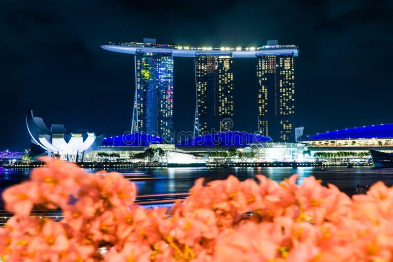 Buildind de Marinabaysand en Singapur con primero plano borroso fotos de archivo