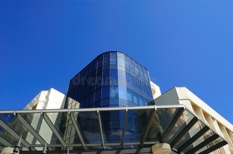 Building. Modern building against blue sky