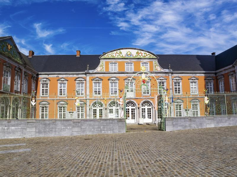 The building of the Abbey of Saint-Hubert, Abbey of St. Peter in. The Ardennes in Saint-Hubert, Belgium on a sunny September day stock image