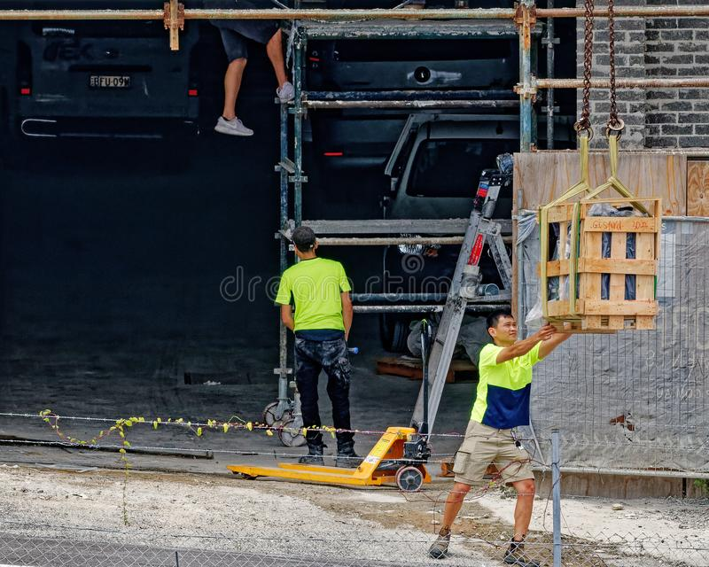 Building activities update 175 at 47 Beane St. Gosford. January 2019. Gosford, New South Wales, Australia - January 31, 2019: Construction workers on new home royalty free stock photos