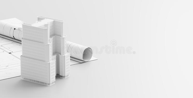 Building or architectural design concept on blueprints. Construction project isolated on white background. 3d illustration.  royalty free illustration