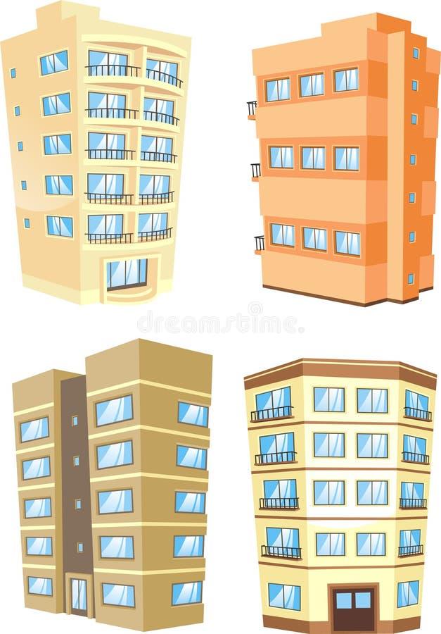 Building architecture apartments exterior housing set 1. Building architecture apartments exterior housing, illustration cartoon royalty free illustration