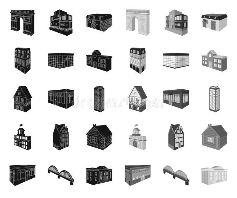 Building and architecture black.mono icons in set collection for design.The building and dwelling vector isometric. Symbol stock  illustration stock illustration