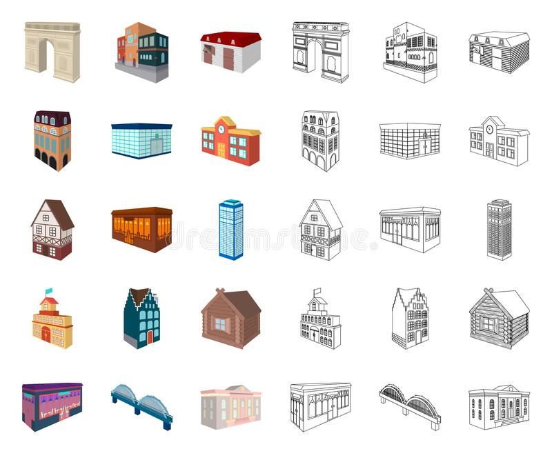 Building and architecture cartoon,outline icons in set collection for design.The building and dwelling vector isometric. Symbol stock  illustration vector illustration