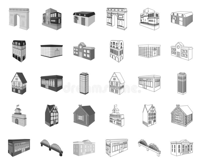 Building and architecture mono,outline icons in set collection for design.The building and dwelling vector isometric. Symbol stock  illustration stock illustration