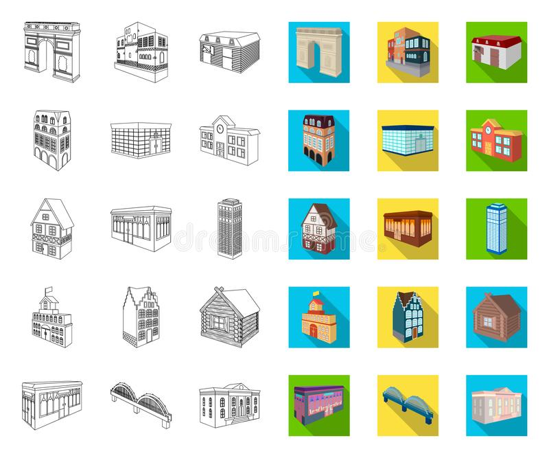 Building and architecture outline,flat icons in set collection for design.The building and dwelling vector isometric. Symbol stock  illustration vector illustration