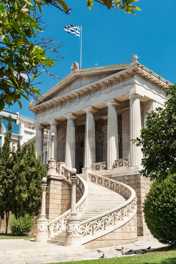 Building in Athens, Greece. Exterior of building with Greek flag in Athens, Greece against blue skies stock images