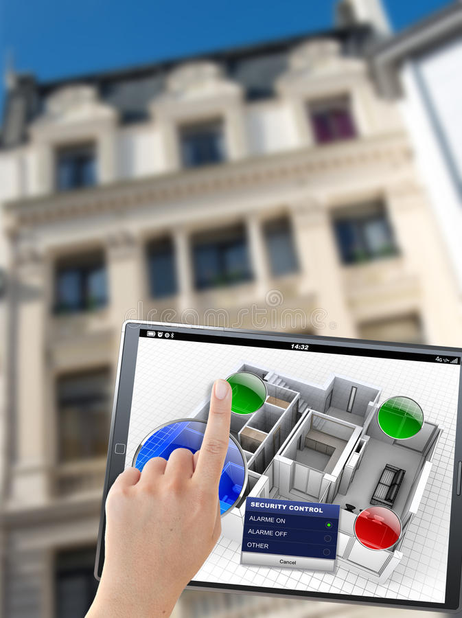 Building automation controls. 3D rendering of a tablet with an apartment control panel, in front of a building royalty free stock images
