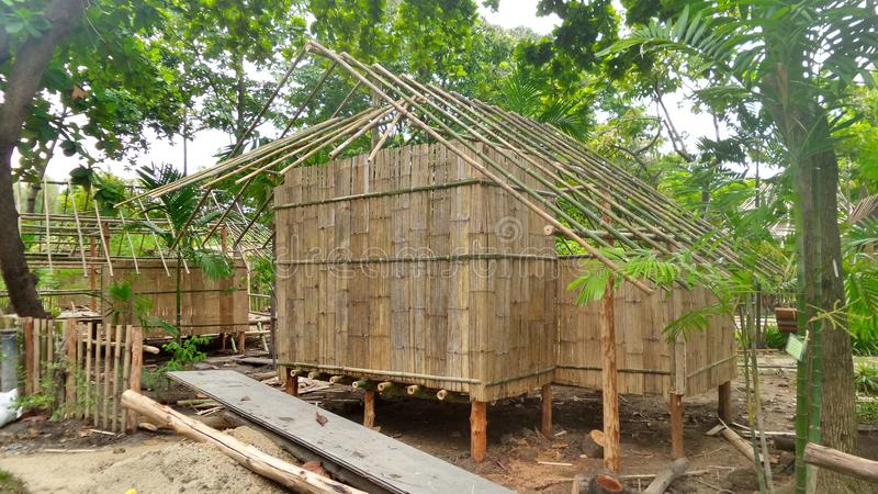 Building A Bamboo Hut In Tropical Forest In Thailand Stock