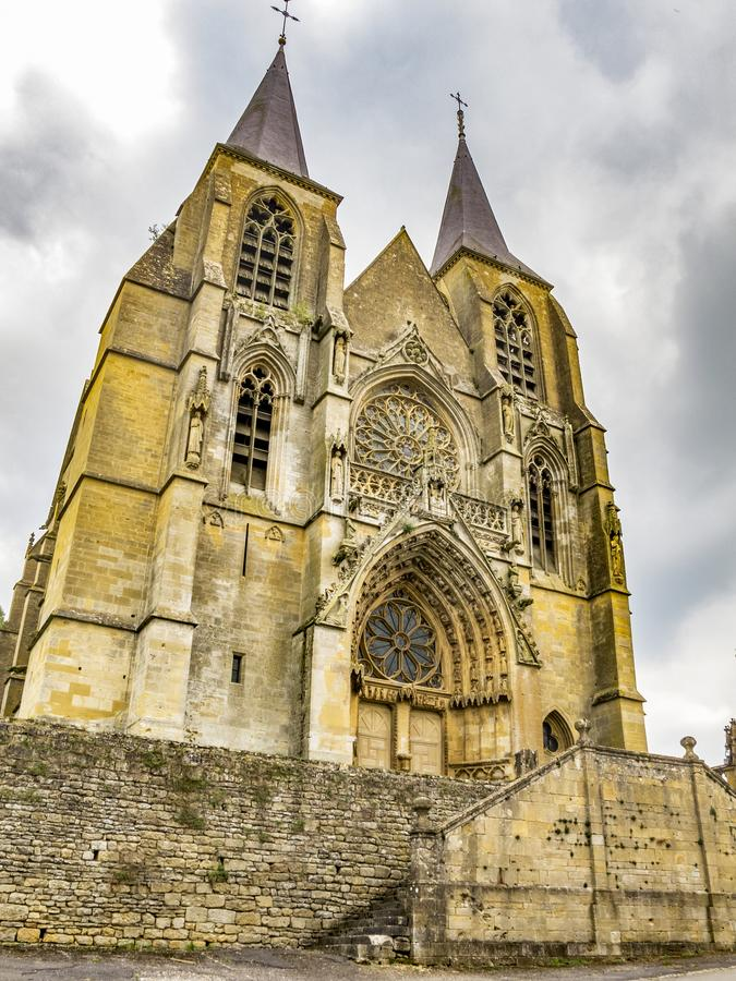 The building of Basilica of Our Lady in Avioth, France royalty free stock image