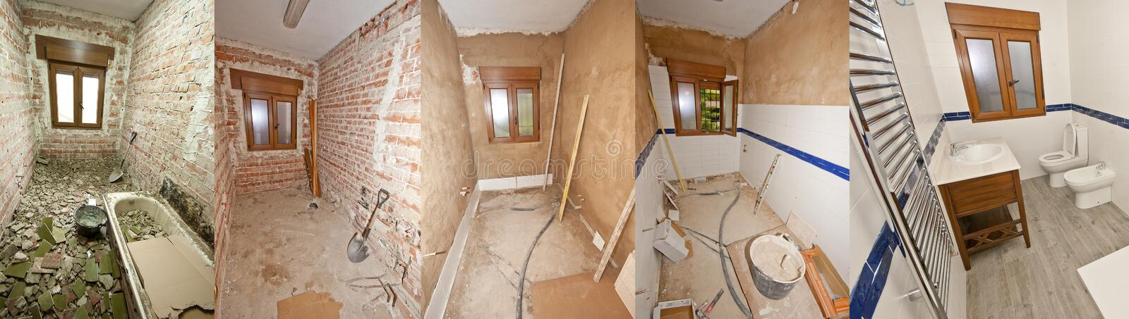 Building a bathroom before and after royalty free stock photos
