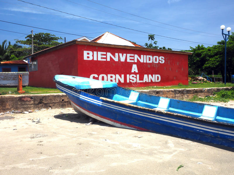 Building on beach with welcome sign Brig Bay Big Corn Island Nicaragua royalty free stock images