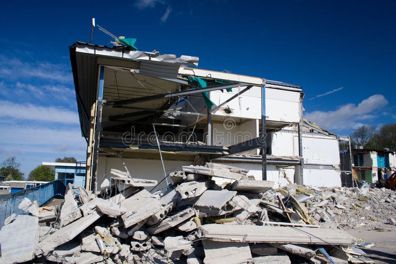 Building being demolished stock photography