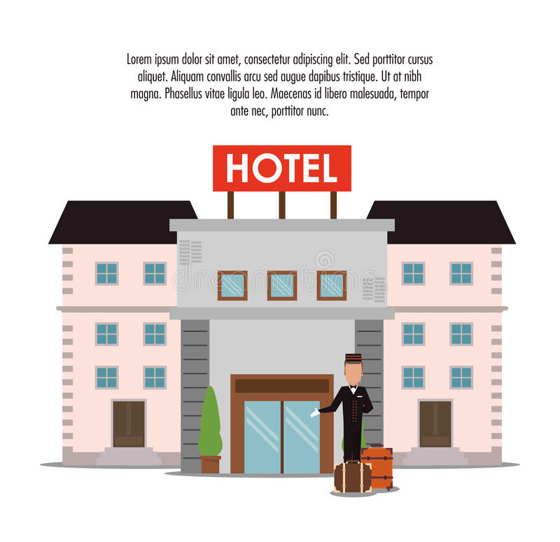 Building bellboy baggage hotel icon, vector stock illustration
