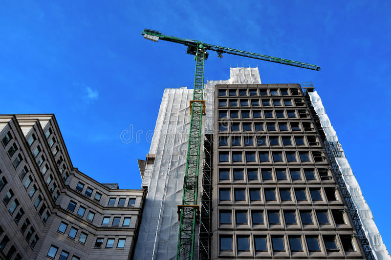 Building in Birmingham city center under construction. In the sunny day stock photo