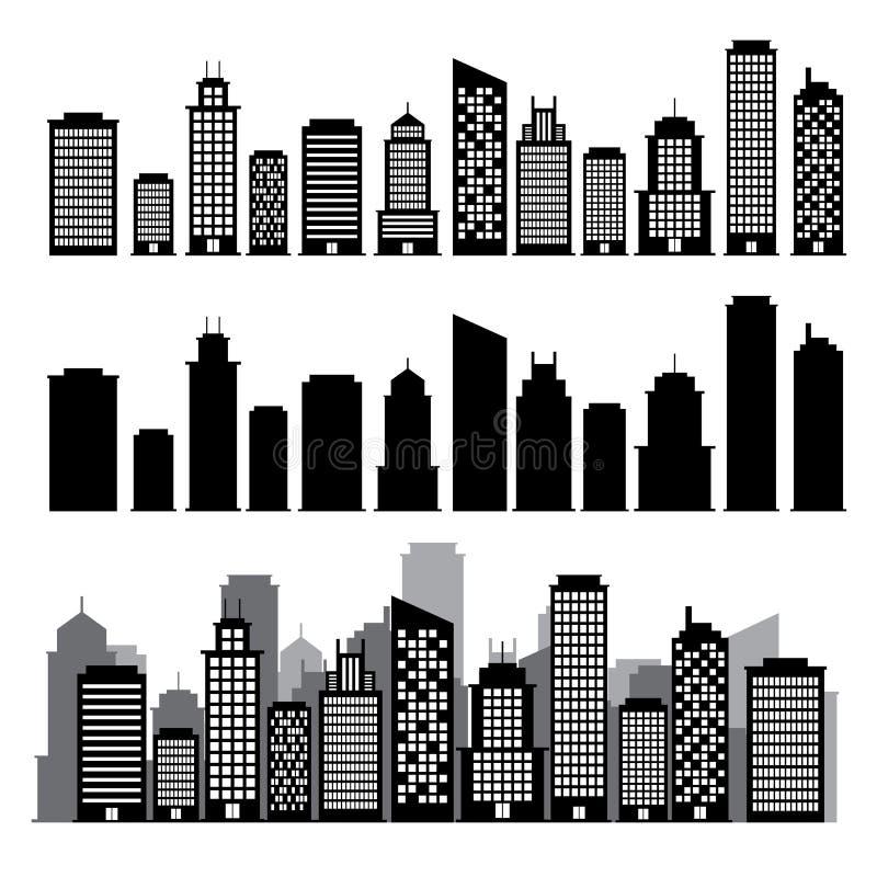 Building black and white icon set. stock illustration