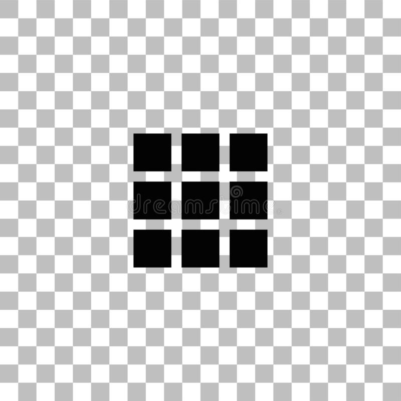 Building block icon flat. Building block. Black flat icon on a transparent background. Pictogram for your project royalty free illustration