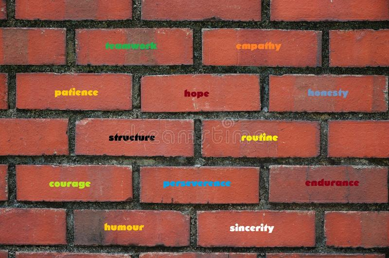 Building blocks of good character qualities stock image